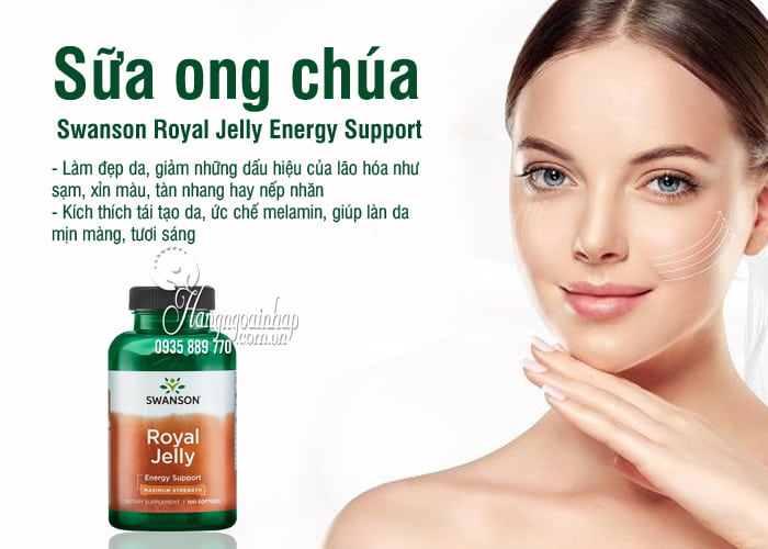 Sữa ong chúa Swanson Royal Jelly Energy Support của Mỹ 9
