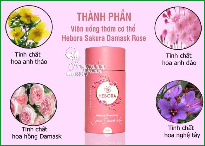 Viên uống thơm cơ thể Hebora Sakura Damask Rose Nhật 60 viên 7