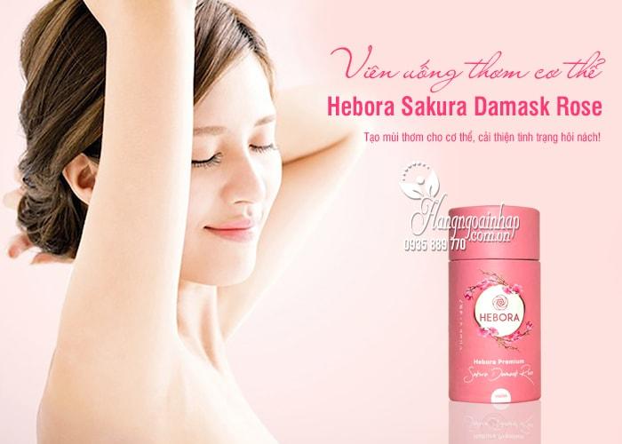 Viên uống thơm cơ thể Hebora Sakura Damask Rose Nhật 60 viên 9