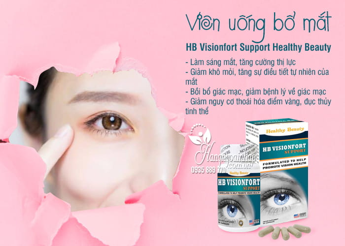 Viên uống bổ mắt HB Visionfort Support Healthy Beauty Mỹ 7