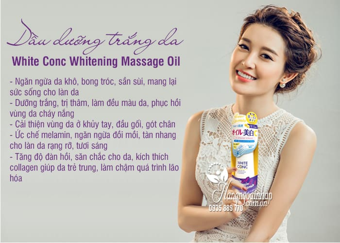 Dầu dưỡng trắng da White Conc Whitening Massage Oil 4