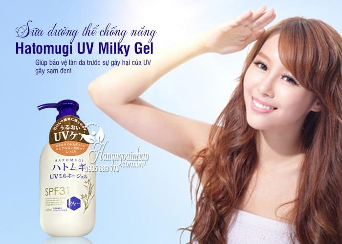 Sữa dưỡng thể chống nắng Hatomugi UV Milky Gel Nhật  250ml 4