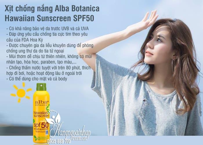 Xịt chống nắng Alba Botanica Hawaiian Sunscreen SPF50 Mỹ 7
