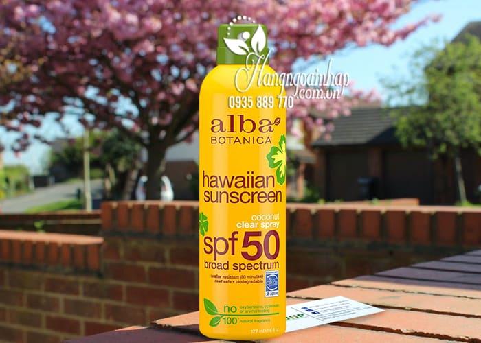 Xịt chống nắng Alba Botanica Hawaiian Sunscreen SPF50 Mỹ 4