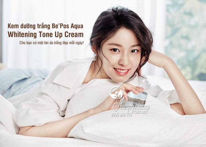 Kem dưỡng trắng Be'Pos Aqua Whitening Tone Up Cream 9