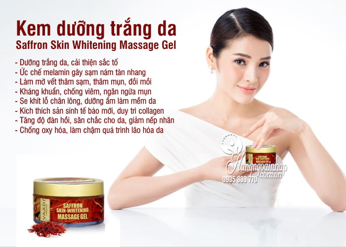 Kem dưỡng trắng da Saffron Skin Whitening Massage Gel 50mg 2