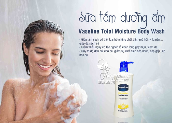 Sữa tắm dưỡng ẩm Vaseline Total Moisture Body Wash 650ml 1