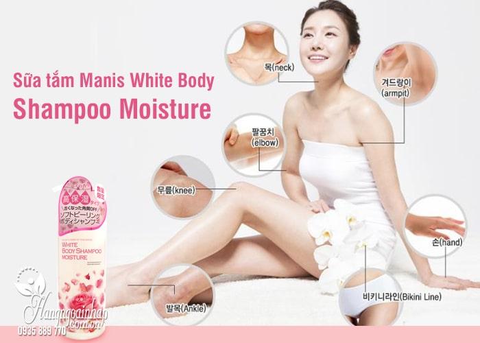 Sữa tắm Manis White Body Shampoo Moisture hồng chai 450ml 16