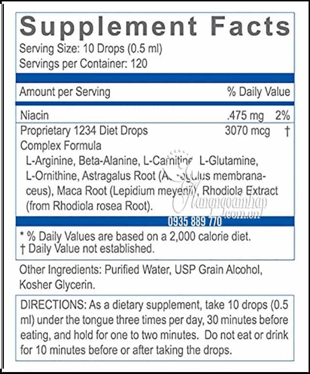Thuốc Giảm Cân 1234 Diet Drops Hcg 60ml Của Mỹ 5