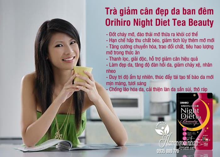 Trà giảm cân đẹp da ban đêm Orihiro Night Diet Tea Beauty 3