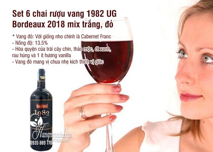 Set 6 chai rượu vang 1982 UG Bordeaux 2018 mix trắng, đỏ 2