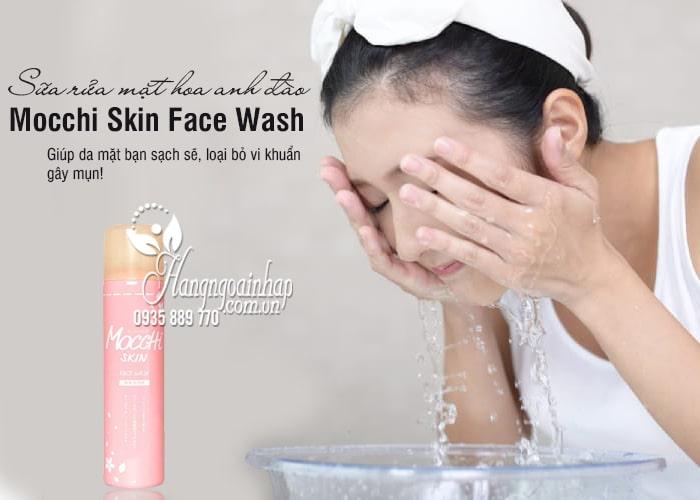 Sữa rửa mặt hoa anh đào Mocchi Skin Face Wash chai hồng 1