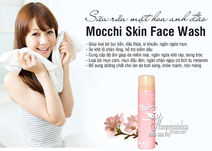 Sữa rửa mặt hoa anh đào Mocchi Skin Face Wash chai hồng 2