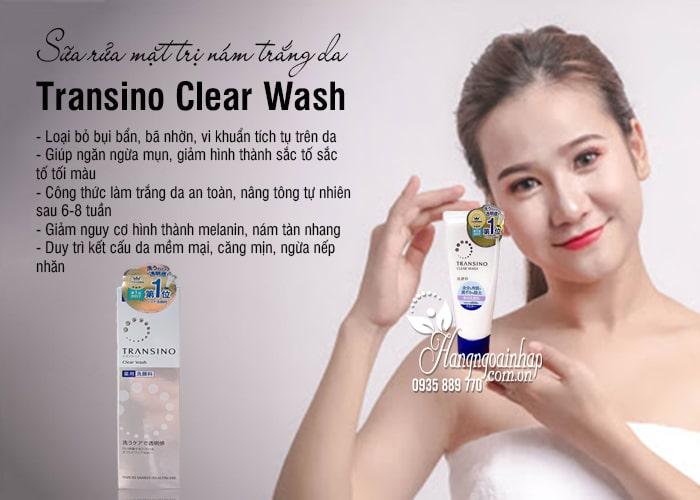 Sữa rửa mặt trị nám trắng da Transino Clear Wash 100g Nhật Bản 7