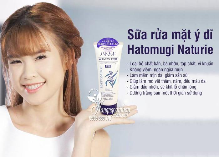 Sữa rửa mặt ý dĩ Hatomugi Naturie 130g của Nhật Bản 2