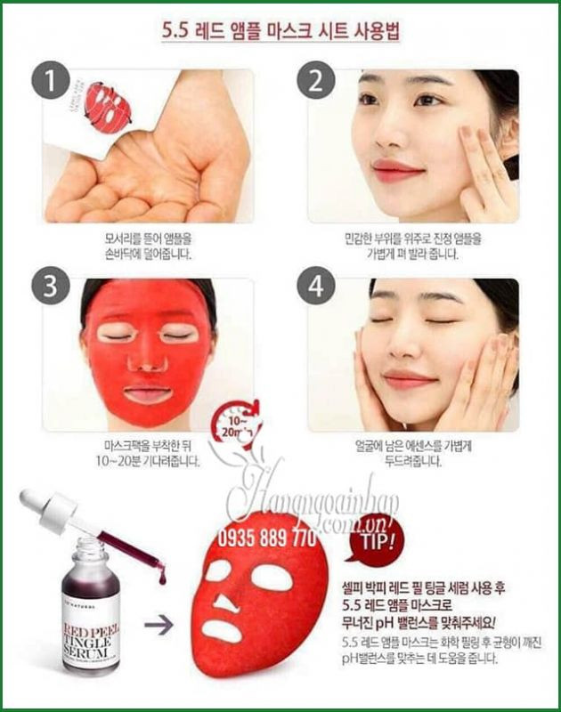 Mặt nạ cân bằng da So Natural pH 5.5 Red Ampoule Mask 1