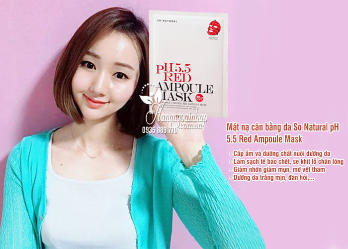 Mặt nạ cân bằng da So Natural pH 5.5 Red Ampoule Mask 2