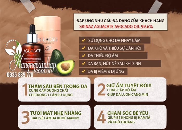 Tinh chất bơ Skinaz Aguacate Avocado Oil 99,6% của Hàn Quốc 4