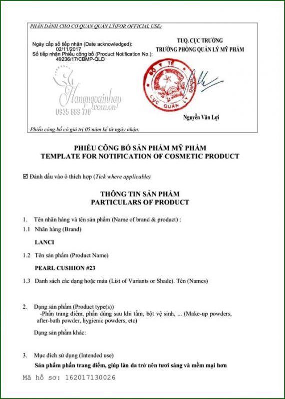Phấn nước Lanci Pearl Cushion SPF50 PA+++ Hàn Quốc 15g 1