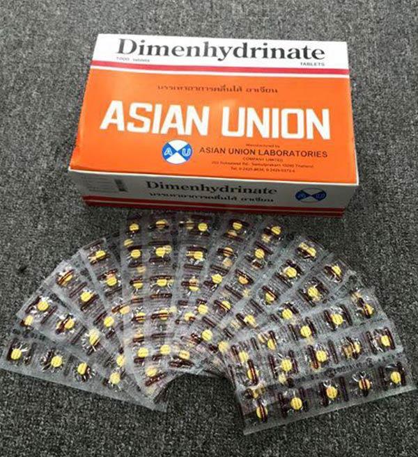 3.Thuốc chống say xe Dimenhydrinate Thái Lan