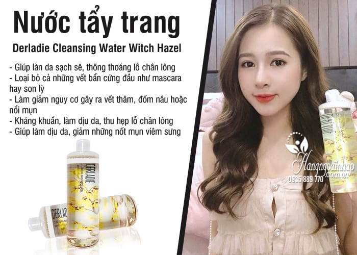 Nước tẩy trang Derladie Cleansing Water Witch Hazel Hàn Quốc 6