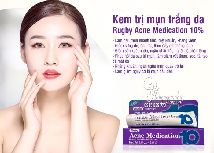 Kem trị mụn trắng da Rugby Acne Medication 10% của Mỹ 2
