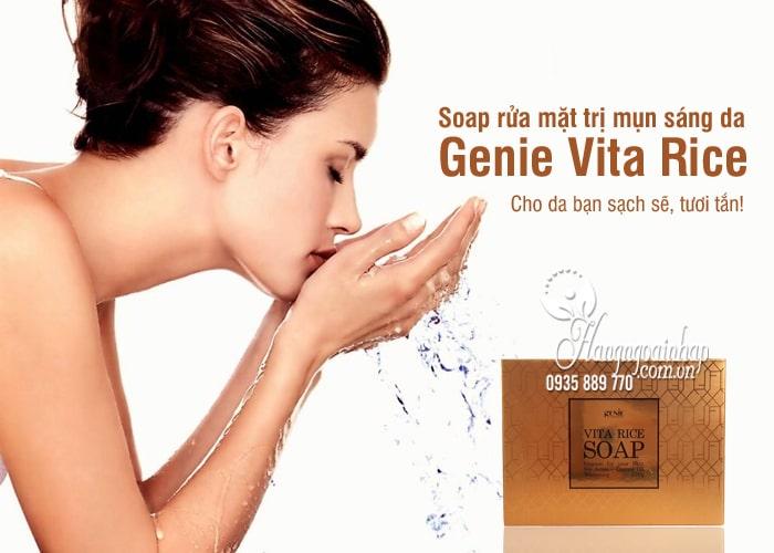 Soap rửa mặt trị mụn sáng da Genie Vita Rice Hàn Quốc 1
