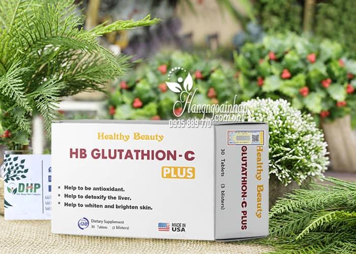 Viên uống trắng da thải độc gan HB Glutathione C Plus 30 viên 9