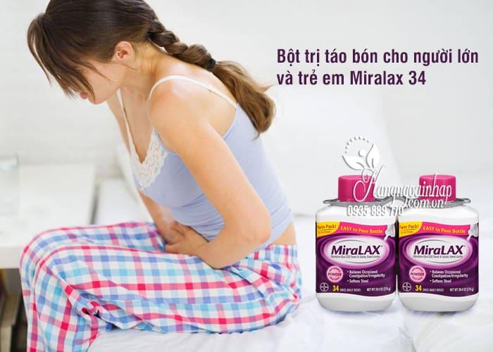 Bột trị táo bón cho trẻ em và người lớn Miralax 34 cốc của Mỹ 1