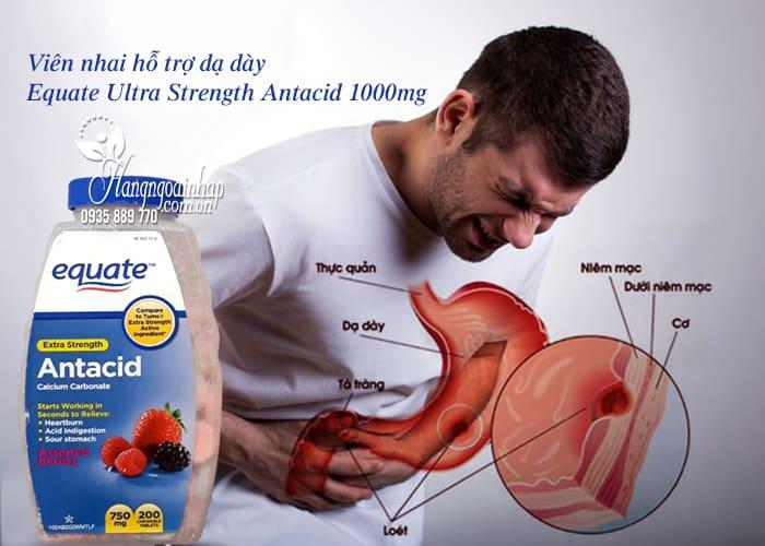 Viên nhai hỗ trợ dạ dày Equate Ultra Strength Antacid 1000mg 45t