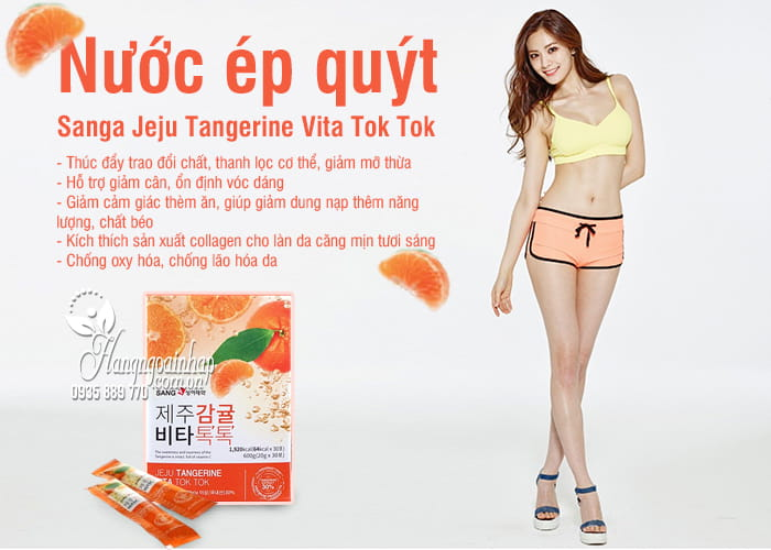 Nước ép quýt Sanga Jeju Tangerine Vita Tok Tok hộp 30 gói 2
