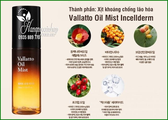 Xịt khoáng chống lão hóa Vallatto Oil Mist Incellderm Hàn Quốc 5