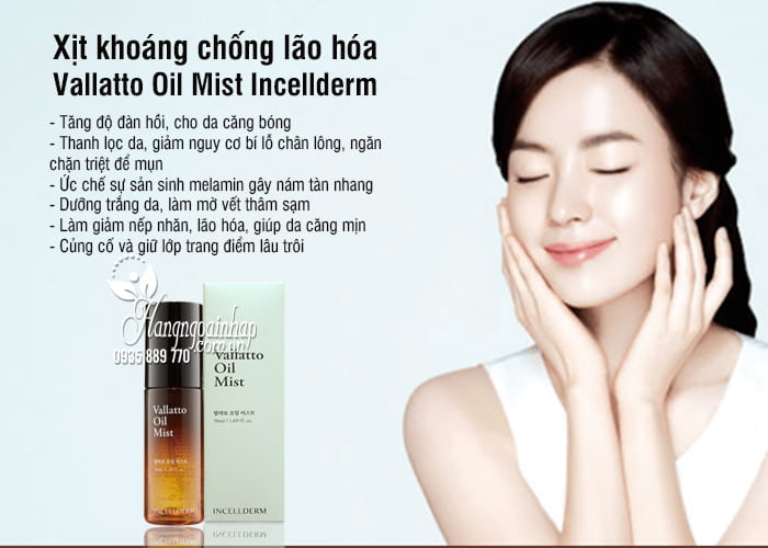Xịt khoáng chống lão hóa Vallatto Oil Mist Incellderm Hàn Quốc 2