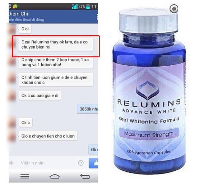 Viên uống trắng da relumins 1650mg review có tốt không từ một số khách hàng trên facebook ảnh 1