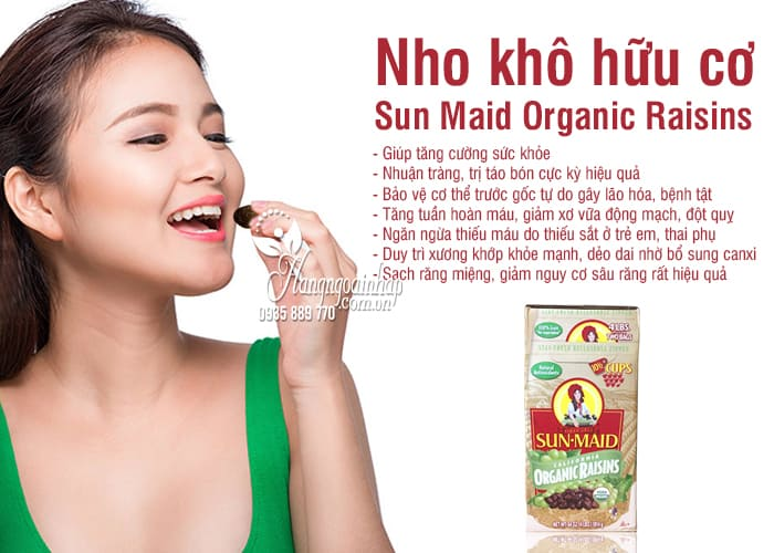Nho khô hữu cơ Sun Maid Organic Raisins 907g x 2 của Mỹ 9