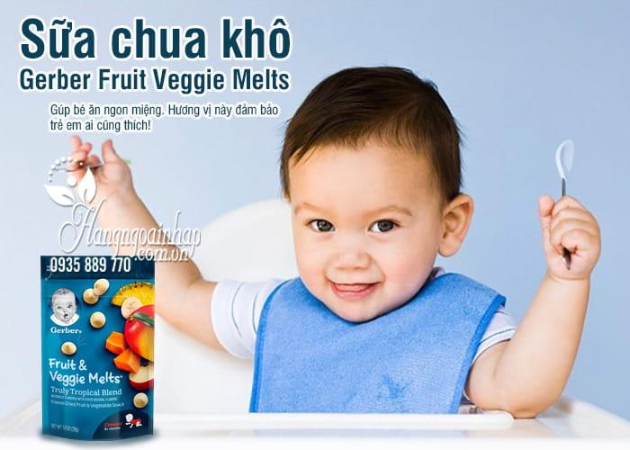 Sữa chua khô Gerber Fruit Veggie Melts 28g của Mỹ cho bé 1