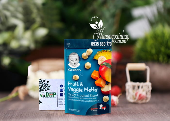 Sữa chua khô Gerber Fruit Veggie Melts 28g của Mỹ cho bé 2