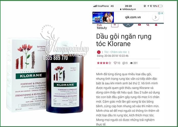 Dầu gội Klorane Quinine 200ml, dầu gội trị rụng tóc của Pháp 1