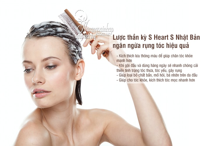 Lược thần kỳ S Heart S Nhật Bản, ngăn ngừa rụng tóc hiệu quả 3
