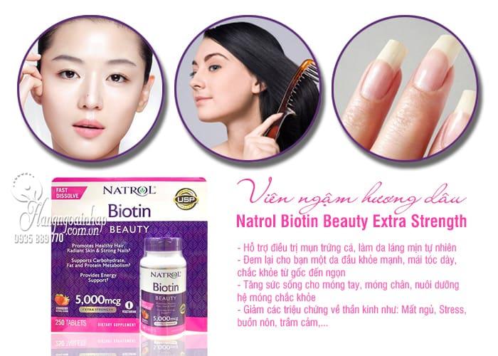 Viên ngậm hương dâu Natrol Biotin Beauty 5000mcg Extra Strength 9