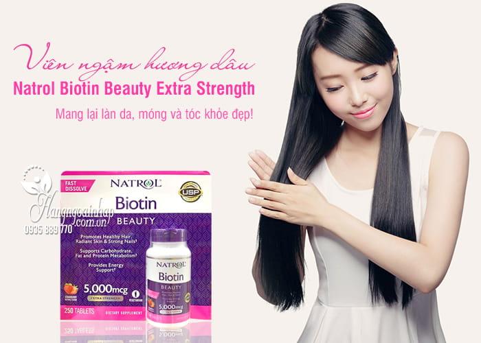 Viên ngậm hương dâu Natrol Biotin Beauty 5000mcg Extra Strength 1