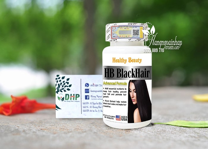 Viên uống HB Black Hair Healthy Beauty - Giúp tóc đen mượt 0