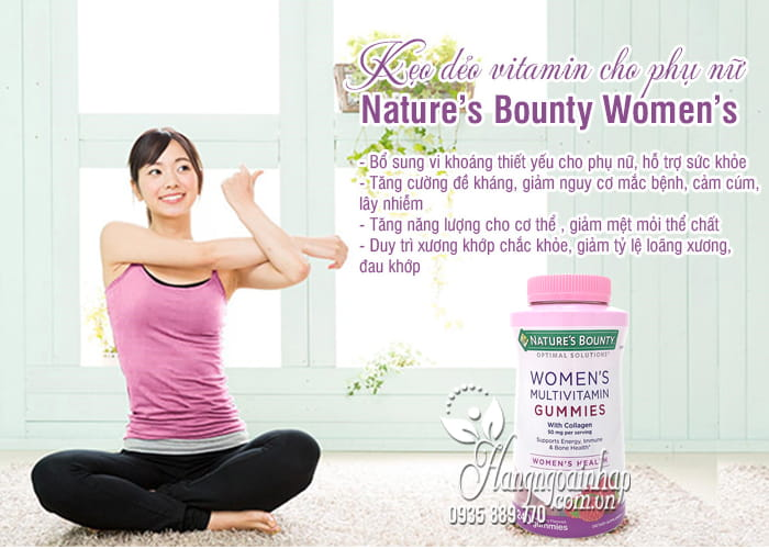 Kẹo dẻo vitamin cho phụ nữ Nature's Bounty Women's Mỹ 9