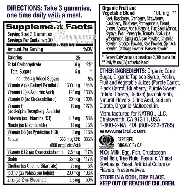 Kẹo dẻo vitamin cho phụ nữ Natrol Gummies Women's Multi 4