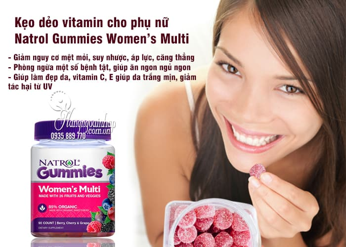 Kẹo dẻo vitamin cho phụ nữ Natrol Gummies Women's Multi 3