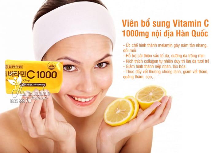 Viên bổ sung Vitamin C 1000mg nội địa Hàn Quốc dạng vỉ 8