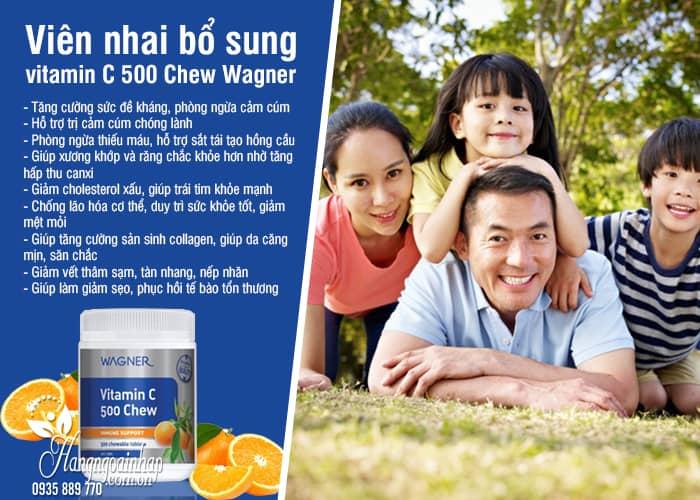 Viên nhai bổ sung vitamin C 500 Chew Wagner của Úc 6