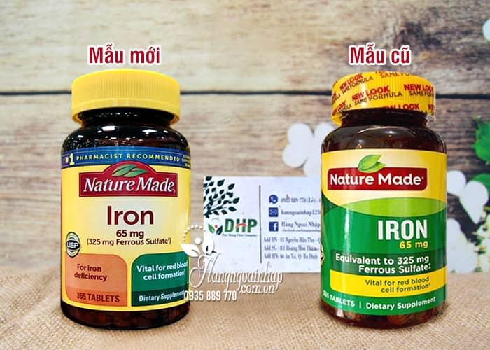 Viên uống bổ sung sắt Iron 65mg Nature Made 365 viên của Mỹ 1