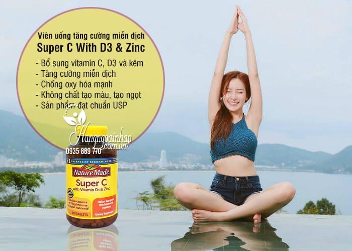 Viên uống tăng cường miễn dịch Super C With D3 & Zinc 200v 5