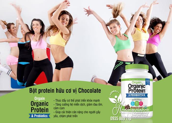 Bột protein hữu cơ Orgain Organic Protein & Probiotics vị Chocolate